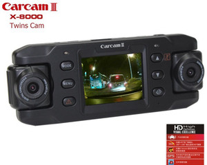 Wholesale Dual Lens Car Camera Two Lens Vehicle DVR Dash Recorder GPS G-sensor For CA365 X8000 Camera car DVR TWins cam
