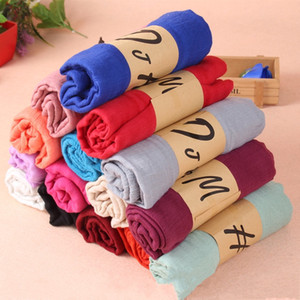 Wholesale Scarfs for women Scarves Gray Begonia Flower Ink Style Long Cotton Girl Neck Scarf fashion Shawl A
