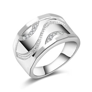 Wholesale New Sterling Silver fashion jewelry Trend Men Czech drill ring hot sell girl gift