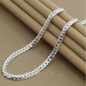 Wholesale Fashion High quality brand new womens mens male female Sterling silver Necklace Necklaces Pendant chain Link Pendants KX130