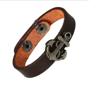 Wholesale New arrival leather bracelet men fashion jewelry mens anchor bracelets bangles personalised hippie bracelt pulseira masculina