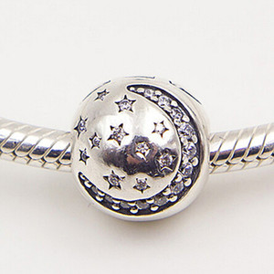 Wholesale twinkle silver resale online - 925 Sterling Silver Twinkling Night Clip Charm Bead with Clear Cz Fits European Pandora Jewelry Bracelets Necklaces