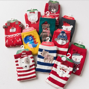 Wholesale Christmas socks Baby Boys Girls Santa Clause Snow man Deer Stripes Socks Red Cute pairs colors per pack
