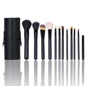 12pcs Makeup Brushes Black Cosmetic Brushes Tool Kit with box Professional Stroke Set Leather Cup Styling Tools Kit Hair Kabuki Brush