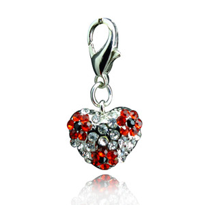 Wholesale Fashion Floating Charms Inlaid Rhinestones Heart Shaped Car Keychain Locket Charms