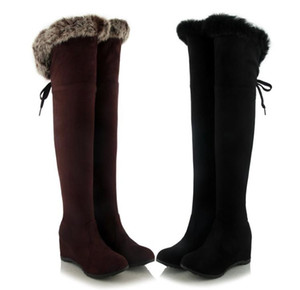 Plus Size 34 to 40 41 42 43 Black Brown Synthetic Suede Wedge Heel Cozy Fur Over The Knee Boots