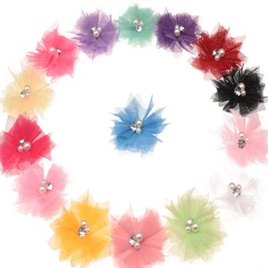 72pcs Rhinestone Pearl Cluster Center Mesh Flower for Accessories Hair Diy Accessories Fashion Headwear Solid Headbands