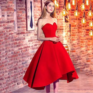 Red Girls Sweetheart Short Party Dresses Sexy Lace Up Prom Party Gowns Simple Prom dress robe de soiree 2017 vestido de festa on Sale