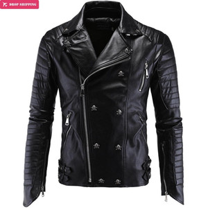 Wholesale Wholesale- Brand Clothing Cool Fashion Party Essential Leather Motorcycle Jacket High Quality Leather Coat Plus Size Y998