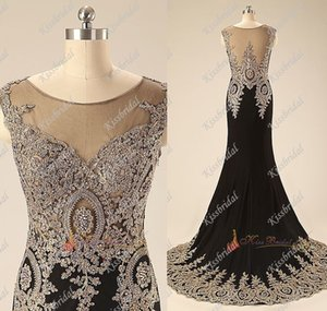 Wholesale Gorgeous Beaded Lace Black Mermaid Evening Dresses Scoop Neck Sweep Train Chiffon Celebrity Gown Party Dresses
