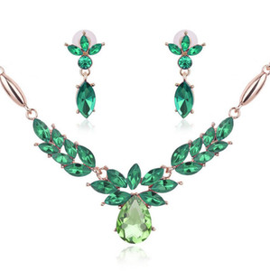 Top Quality Necklace Earrings Jewelry Set Creative Flower shape Crystal Jewelry Sets For Women Wedding Jewelry Sets 61152089