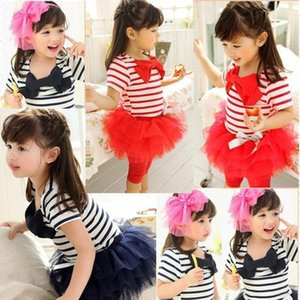 2015 New Virgin suit girls two-piece new han edition Short sleeve Stripe T-shirt + Lace skirt suit B001 on Sale