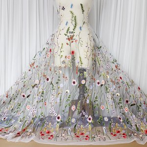 Wholesale Popular high Fashion Colorful leaf flower Embroidered Lace mesh embroidery fabric Wedding formal dress Lace fabric L027