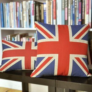 Wholesale Union Jack pillow cover Retro British flag cotton linen throw pillow case pillowcase
