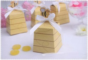 Wholesale 1000PCS Yellow Honey Bee wedding baby shower birthday party Favor gift box candy boxes favors
