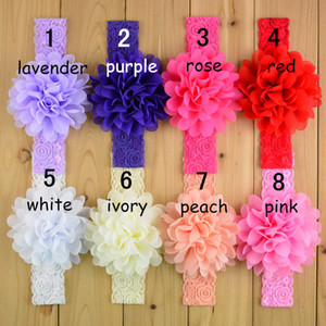 Wholesale Baby lace Flower Hair band color silk Hair rope band knitted elastic headband Head Bands baby Hair band B001