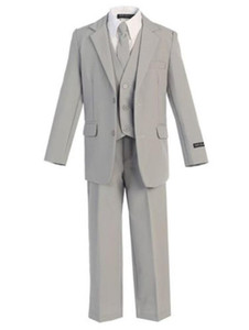 Wholesale 2017 Gray Ages Boy Suits Kids Party Prince Tuxedos Custom pieces jacket pants vest custom made