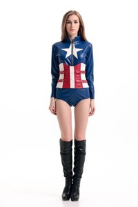 Wholesale 2017 New Adult Captain America Corset Jumpsuit Sexy Cosplay Halloween Costumes For Women Blue PU Stage Performance Clothing Hot Selling