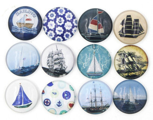 Wholesale sailing jewelry resale online - New Arrival mm Cabochon Glass Stone Buttons Nautical Ship Sailing Boat Snaps for mm Snap Jewelry Bracelet Necklace Ring Earring