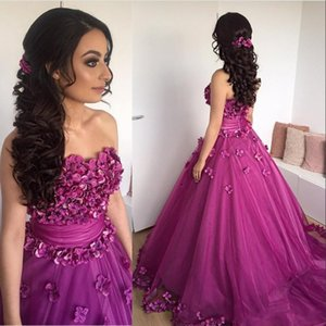 Wholesale 2017 Purple Prom Dresses Wear Sexy Sweetheart 3D Flowers Zipper Back Sleeveless Sash Tulle Sweep Train Plus Size Party Dresses Evening Gowns