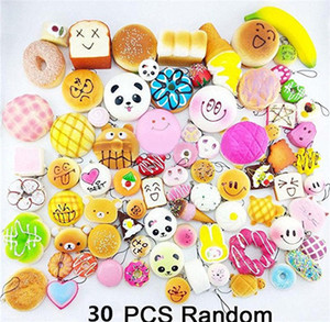 Wholesale Kawaii lovely Squishies Bun Toast Donut Bread for cell phone Bag Charm Straps mixed Rare Squishy slow rising lanyard scented