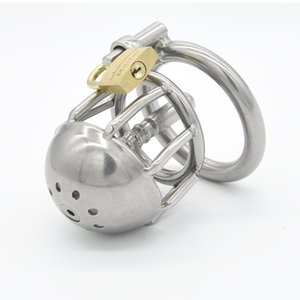 Male Stainless Steel Chastity Device Short Size Locking Cock Cage with Urethral Tube CD025