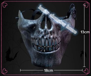 Wholesale pirate half mask for sale - Group buy 2pcs cm cm Halloween party show Halloween Ghost CS faces terrorist pirate mask antique skull half face mask