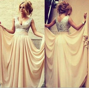 Wholesale Champagne Gold Red In Stock Cheap Prom Dresses Exquisite Sequins Decorated With V-neck Chiffon Pleats Formal Evening Gowns Prom Gowns