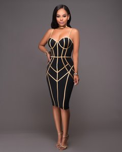 Wholesale Female Black and Gold Strap Zipper Bandage Keen length Dress Women Sexy Sleeveless Bodycon Club Wear Casual Vestidos