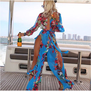 Wholesale Sexy womens swimsuits beach cover up dresses for women plus size swimwear fat swimming wear women irregular chiffon bathing suit