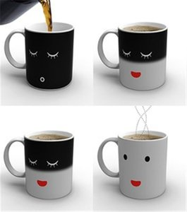 Wholesale coffee mug faces for sale - Group buy Smilling Face Color Changing Mug Cup High Quality Ceramic Coffee Cup Temperature Changing Mug
