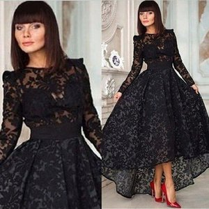 Formal Evening Dress 2018 Vintage Evening Gown Black Lace A Line Prom Crew With Long Sleeve Hi Lo Party Special Occasion Party Dresses on Sale