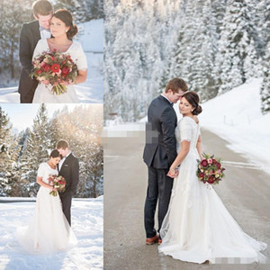 Wholesale snow white lace wedding dress for sale - Group buy Snow Winter Plus Size Wedding Dresses Short Sleeve Scoop Lace A Line White Satin Chapel Train Covered Button Custom Made Wedding Gowns