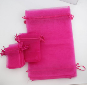 Wholesale 100pcs lot Fuchsia 4 sizes Organza Jewelry Gift Pouch Bags For Wedding favors 7X9cm 9X12cm 13X18cm 20X30cm