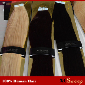 "XCSUNNY Tape In Hair Extensions Remy 40 Pieces Skin Weft Hair Extensions 18""-24"" #1B 100g pack Peruvian Remy Tape In Hair Extension"
