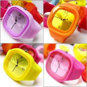 Hot Fashion Square Jelly Watch Unisex Quartz Sports Silicone Wrist Watches Candy SS.com DHL FREE 1552
