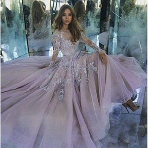 Zuhair Murad Long Sleeves Evening Dresses 2016 Sexy Sheer Neck Appliques Tulle Lavender Prom Dresses See Through Back Formal Gowns on Sale