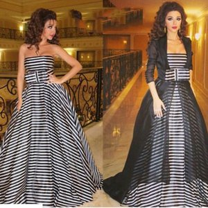 Wholesale Black and White Celebrity Dresses 2015 inspired by Myriam Fares Dresses with Black Sheer Jacket and Bow Ribbon