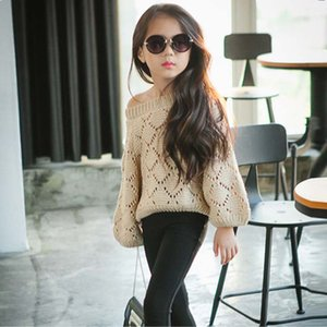 Wholesale Girl Dress Pullover Sweaters Child Clothes Kids Clothing Autumn Crochet Sweater Girls Tops Children Pullover Knitted Sweaters C13404