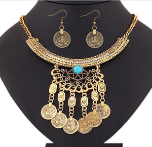 Bohemian Retro Tribal Crystal Crescent Bead Flower Coin Fringe Bib Necklace Earrings Set Turkish Gypsy Jewelry Set