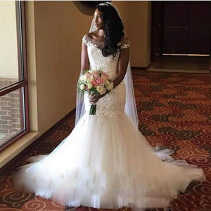 Wholesale South African Vestido de Noiva Custom Made Mermaid Wedding Dresses Sheer Neck Cap Sleeve Tulle Lace Applique Bodice Bridal