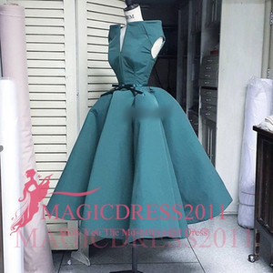 Wholesale Gorgeous Dark Green Evening Dresses Tea-Length Formal Prom Gowns Special Occasion Dress A-Line Bateau Ruffled Custom Made Arabic
