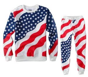 Wholesale 2015 New fashion men women running sport suits American flag d print stylish tracksuits sweatshirt pants joggers set