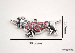 Wholesale Crystal Dogs New Arrival antique silver zinc studded with sparkling pink crystals Dachshund Animal Pendant