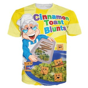 Wholesale tshirts fashion women men Cinnamon Toast Blunts print Crewneck t shirt funny food t shirt Casual cartoon tee shirt d t shirts