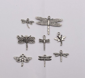 Wholesale Hot Antique Silver mixed Dragonfly Charm pendants DIY Jewelry style mm mm mm