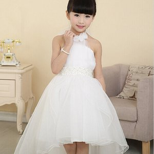 white lace long tail wedding kids dresses for girls 2016 Korean girls princess dress children's clothing girls dress