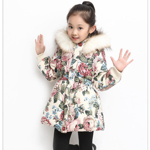 2018 new arrival pydownlake baby girl clothes winter coats cotton print hooded fur collar cardigans outerwear girls jackets kids cloth