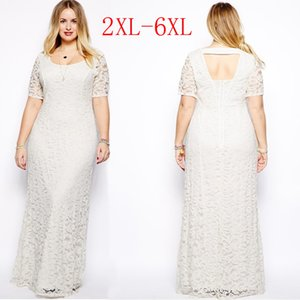 Wholesale Womens Plus Size Maxi Dress with Sleeves Female Vestidos Long White Lace Dress XL XL XL XL XL Fat Women Large Big Size Clothing
