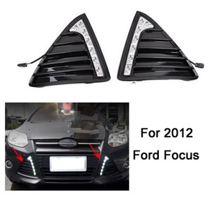 Wholesale Gloss or Matt style E4 LED Car DRL daytime running lights with turn off and dimmer function case for 2012 Ford Focus 3 fog lamp